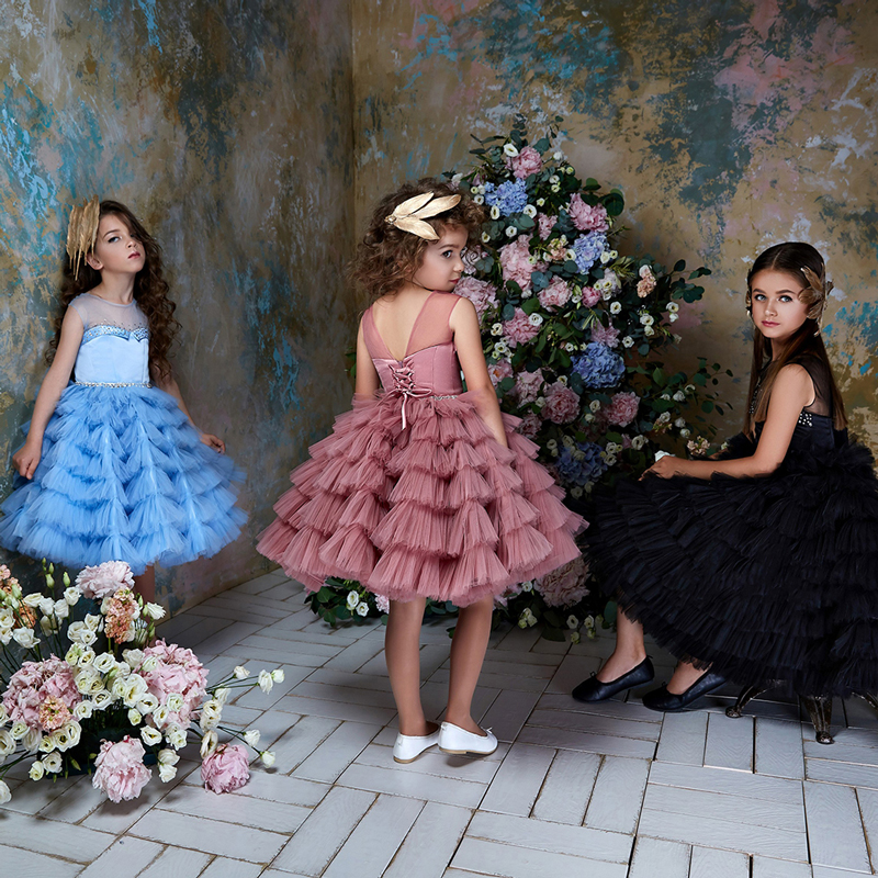 Fancy Puffy Little Girl Dress Kids Pageant Gowns Knee Length Tiered Tulle Birthday Party Dress Custom
