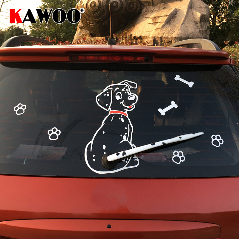 KAWOO Fashion Car Cartoon Animal Sticker Moving Tail Cute Puppy Dog Auto Stickers Reflective Car Styling Rear Wiper Decals