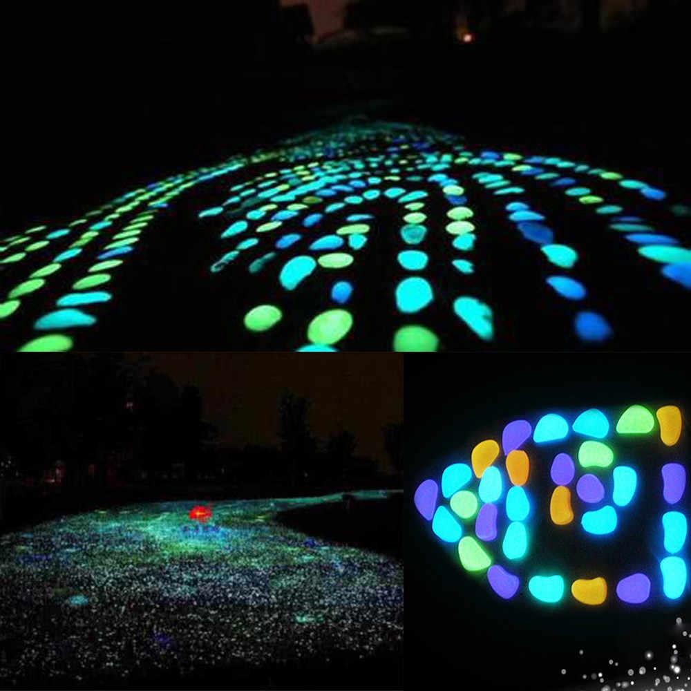 50 Pcs Crianças Brinquedos Brilham Brilham no Escuro Seixos Pedras Rochas Casa Tenda Sala Passarela Jardim Luz Do Tanque de Peixes de Aquário pedras luminosas