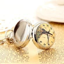 2020New Fashion Men andWomen Silver Pocket Watch Quartz Stainless Steel Steampunk Small Clock Tower Pendant