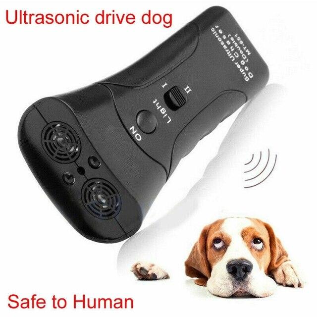 Entraîneur Anti-aboiement à ultrasons pour chien avec trompette à Double tête de lampe de poche LED avec contrôle répulsif