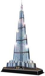 Building Puzzle Burj Khalifa Architecture Luxury 3D Puzzles with LED Building for friend Boys Funny Games