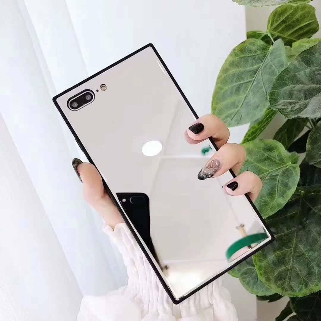 """מקרה עבור iphone 11 פרו מקס רטרו כיכר ילדה איפור מראה טלפון case כיסוי עבור iphone x xr xs 7 בתוספת 8 6 6s 11 6.5 """"6.1"""" 5.8 """"funda"""
