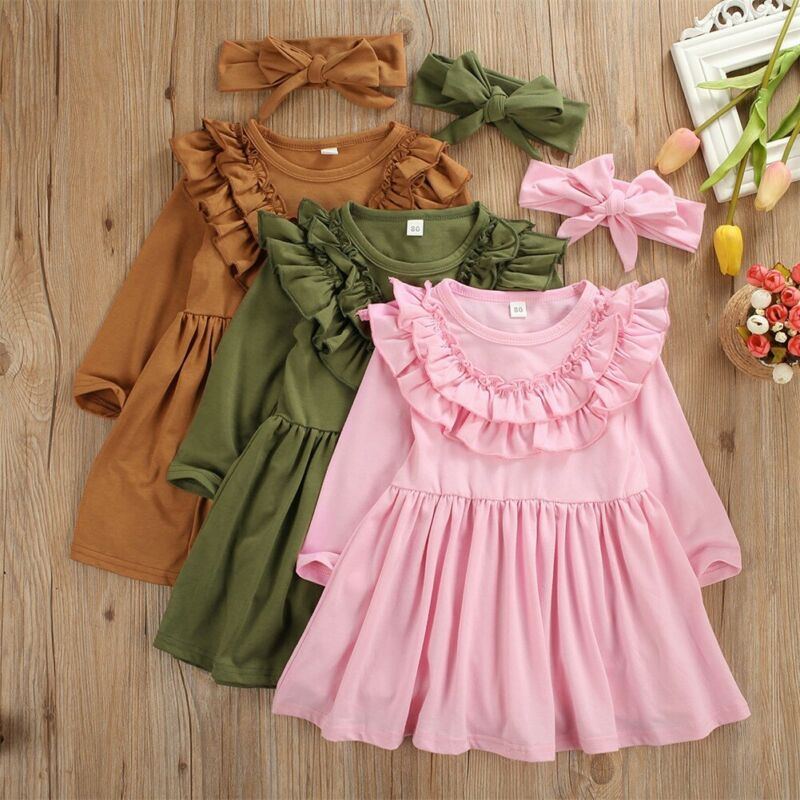 Toddler Baby Girl Clothes Long Sleeve Flowers Dress Tutu Skirt Sundress Headband