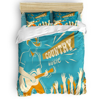 country music Retro Vintage Duvet Cover Set View of Folkloric Serape 4 Piece Bedding Set