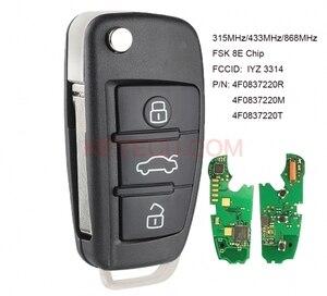 KEYECU pilot z kluczykiem samochodowym sterowania FSK 315MHz/434MHz/868MHz 8E układu dla Audi A6 S6 Q7 2004-2015 identyfikator fcc: IYZ 3314 P/N: 4F0837220R