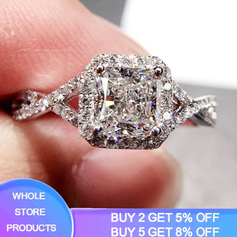 Luxury 2.5ct 925 Sterling Silver Rings For Women Gift Jewelry Fashion Square Design Zircon Bridal Wedding Engagement Ring Bijoux