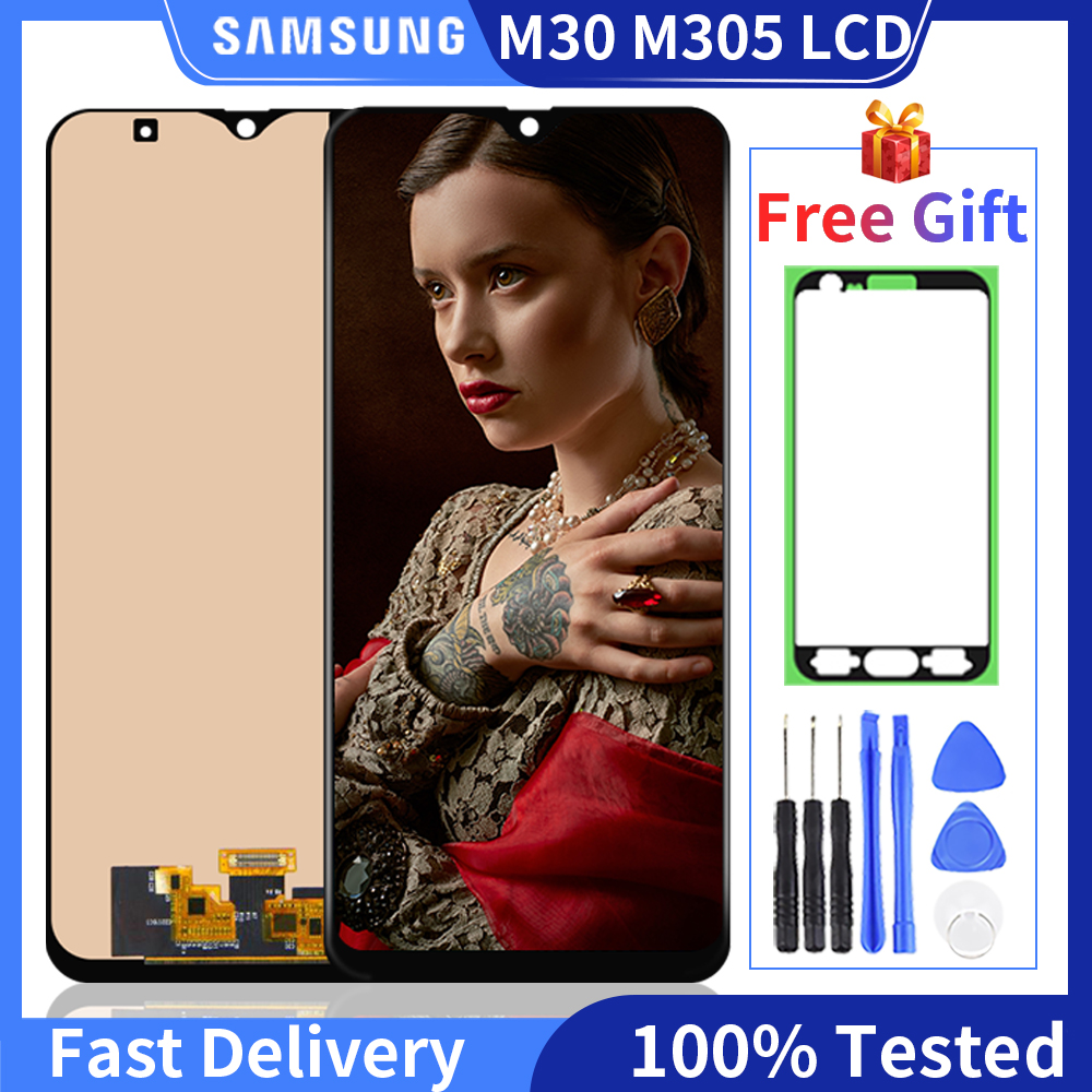 100% протестированный для Samsung Galaxy M30 2019 M30 M305 M305F M305DS ЖК-дисплей сенсорный экран дигитайзер в сборе запасные части