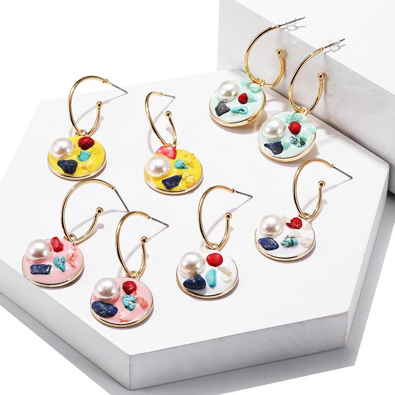 Best selling Rainbow Acrylic Earrings Korean Design Imitation Pearl Pendant Fashion Geometric Round Jewelry
