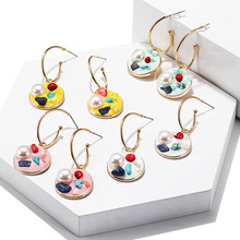 Best selling Rainbow Acrylic Earrings Korean Design Imitation Pearl Pendant Fashion Geometric Round Jewelry