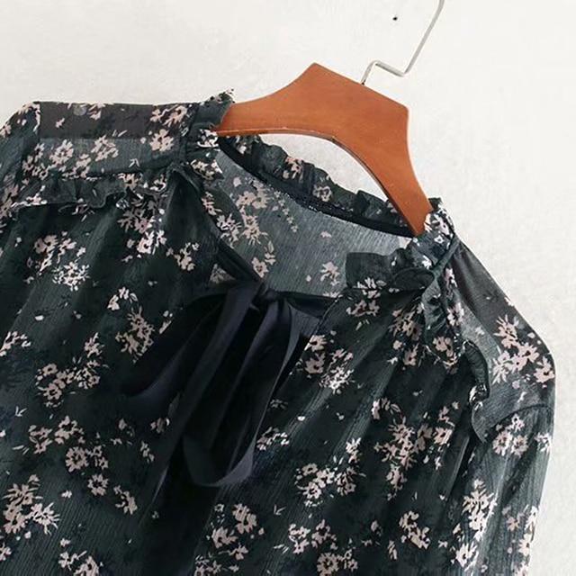 Women Ruffle Bow Tie Mini Floral Print Dress Vintage Long Sleeve Casual Loose Pleated Dress Ruffles Party Dress  4