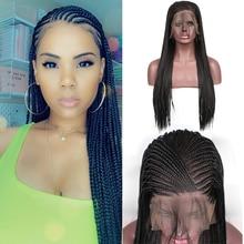 Харизма 13x6 черный термостойкие волокна волос плетеные парики синтетические кружева передний парик с детскими волосами коробка косички парики для женщин