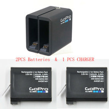 Original para gopro hero 4 herói 4 carregador de bateria dupla AHBBP-401 + 2 bateria original