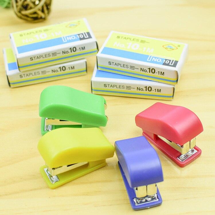 3pcs NO.10 Pin Small Mini Staplers Kawaii Stapling Machine Useful Multi-color Portable Manual Staples Stationery Office Supplies