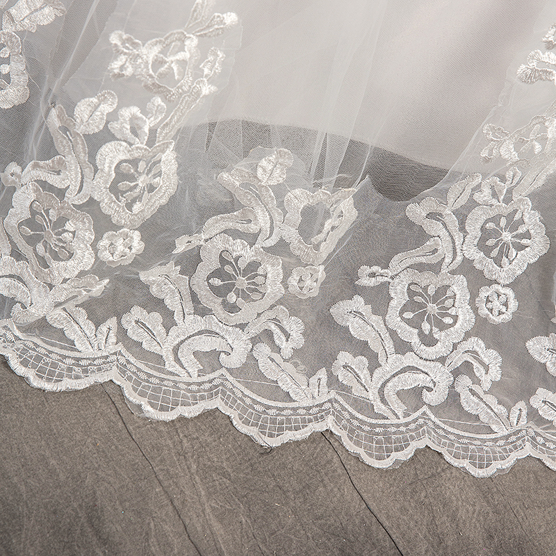 Chinese Wedding Dress 2021 With Long Cap Lace Wedding Gown With Long Train Embroidery