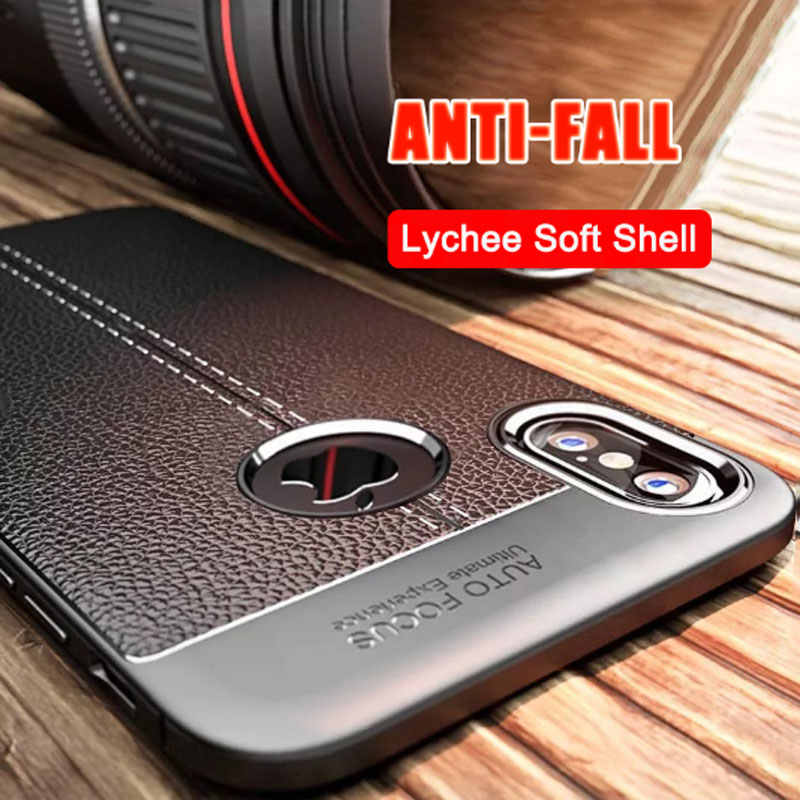 Luxe lederen PU siliconen lychee soft case voor iphone 7 8 6 6s PLUS X volledige set voor iphone X Xr Xs Max shockproof bumper cover