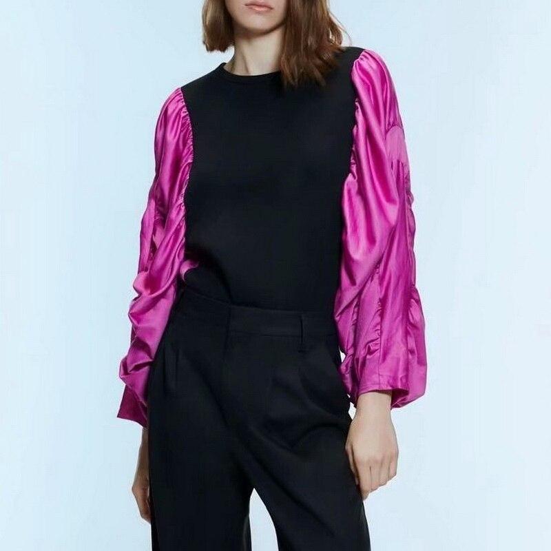 Stylish Women Sweatshirt Autumn 2019 New Fashion Spliced Lantern Sleeve Modern Lady O-Neck Pullovers