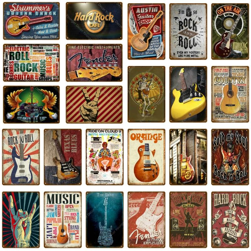 Música guitarra jam pop sinal de metal barra decoração da parede do vintage sinais de metal decoração para casa rolo rock fender pintura placa
