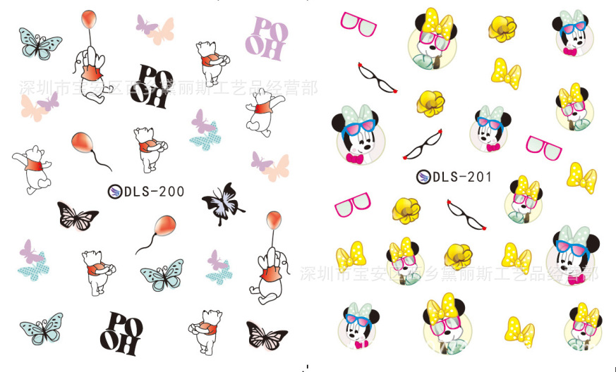 Top Form Brand Harajuku Flower Stickers Nail Sticker Foreign Trade Export Watermark Flower Stickers DLS196-206