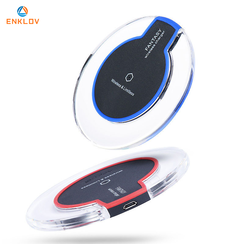ENKLOV Ultra-Thin Crystal K9 Wireless Charger For iphone X Mobile Phone Qi Fast Charge Wireless Charging Base Transmitter Round