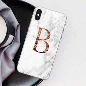 Image 3 - Letter Monogram A B C D white marble Soft silicone TPU Phone Case For iphone 5S 5 SE 6 6s Plus 7 7Plus 8 8Plus XS Max XR SE 2020