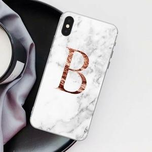 Image 3 - Lettre monogramme A B C D marbre blanc souple coque de téléphone pour iphone 5 S 5 SE 6 6s Plus 7 7plus 8 8plus XS Max XR