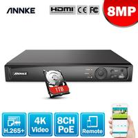 ANNKE 8MP 8CH POE Video Recorder 4K H.265+ NVR For HD POE 2MP 4MP 5MP 8MP IP POE Camera Home Surveillance Security Motion Detect