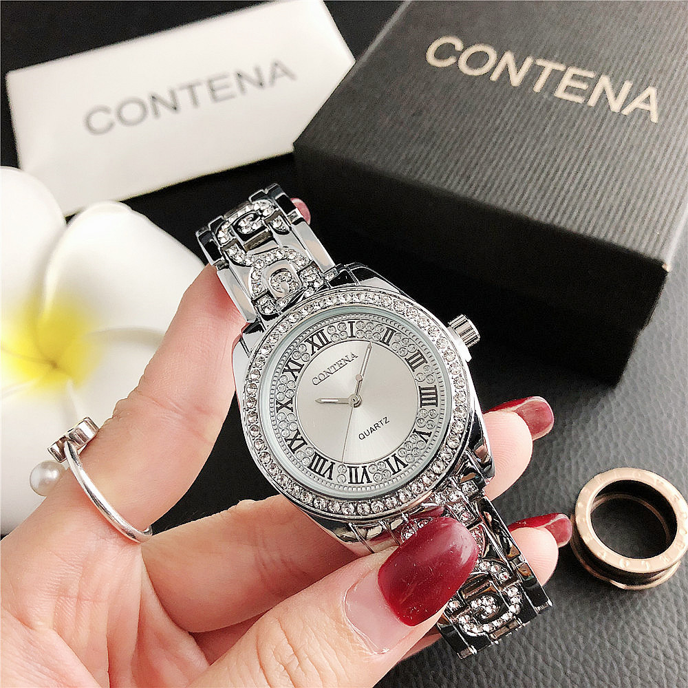 176F      New Products Roman Numeral Alloy Watch With Diamonds Ladies Watch