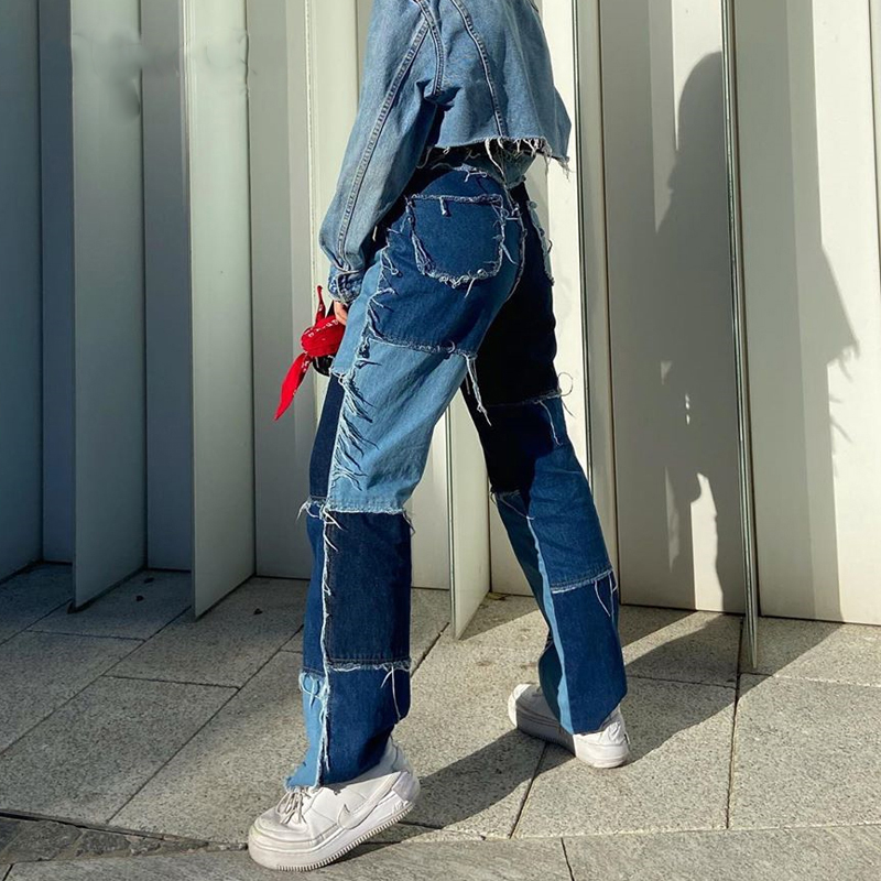 Y2K High Waisted Jeans Women Casual Long Trouses Ladies Patchwork Fashion Denim Pants Capris Pocket Streetwear 2020
