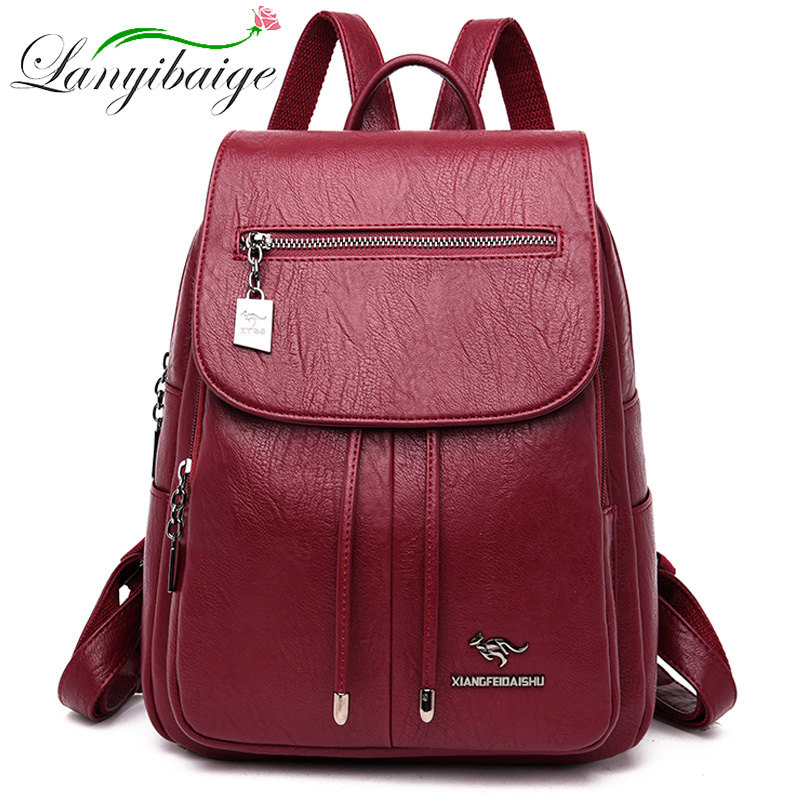 Image 2 - High Quality Women Leather Backpacks Female Shoulder Bag Sac a Dos Travel Ladies Bagpack Mochilas School Bags For Girls Preppy-in Backpacks from Luggage & Bags