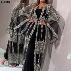 Женское платье-кимоно abaya, белое кружевное платье-Кафтан с блестками, 2019