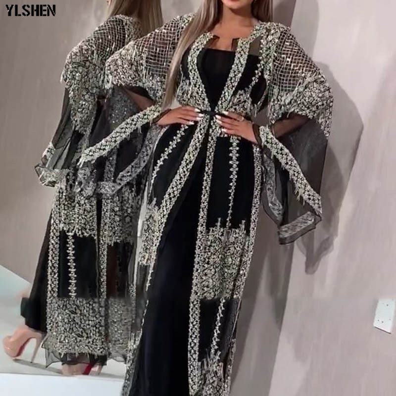 2020 Abaya Dubai Muslim Dress Luxury High Class Sequins Embroidery Lace Ramadan Kaftan Islam Kimono Women Turkish Eid Mubarak