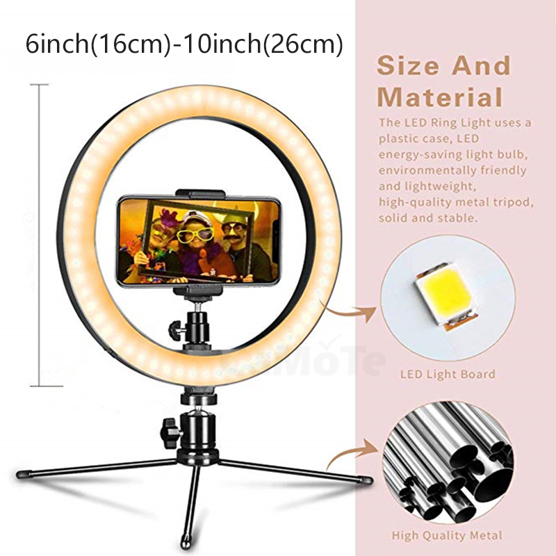 cheapest 10inch LED Ring Light Photographic Selfie Ring Lighting with Stand for Smartphone Youtube Makeup Video Studio Tripod USB Ring Light