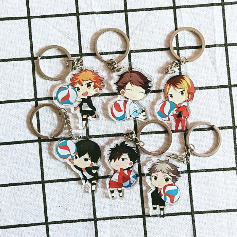 1pc Cute Anime Keychain Haikyuu Shouyou Hinata Double Sided Key Ring Acrylic Pendant Figgure Toys Cartoon Accessories Kids Gift