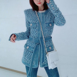 Image 3 - TWOTWINSTYLE Streetwear חלול את ג ינס נשים של מעילי O צוואר ארוך שרוול כיס תחרה עד מעיל נשי סתיו אופנה חדש 2020