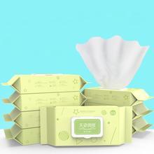 80 шт./пакет, детская упаковка для влажных салфеток, не ароматные мягкие нежные одноразовые влажные салфетки, контейнер, детские ватные тампоны для очищения кожи