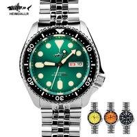Heimdlr-Reloj de pulsera con esfera verde para hombre, reloj mecánico automático de cuerda automática, de lujo, para buceo, NH36, SKX007