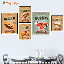 Sandwich Skewers Hamburger Try Me Quotes Snack Bar Prints Wall Art Canvas Paintin Nordic Decoration For Kitchen Decor Unframed цена