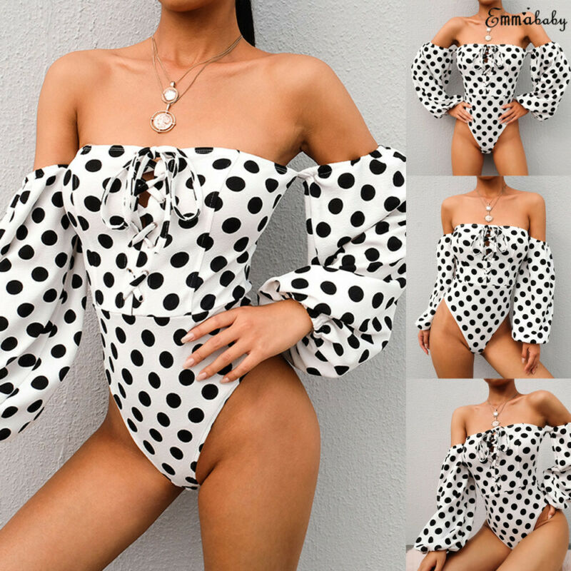 Sexy Women's Lady Off Shoulder Jumpsuits Long Sleeve Polka Dot Tops Rompers