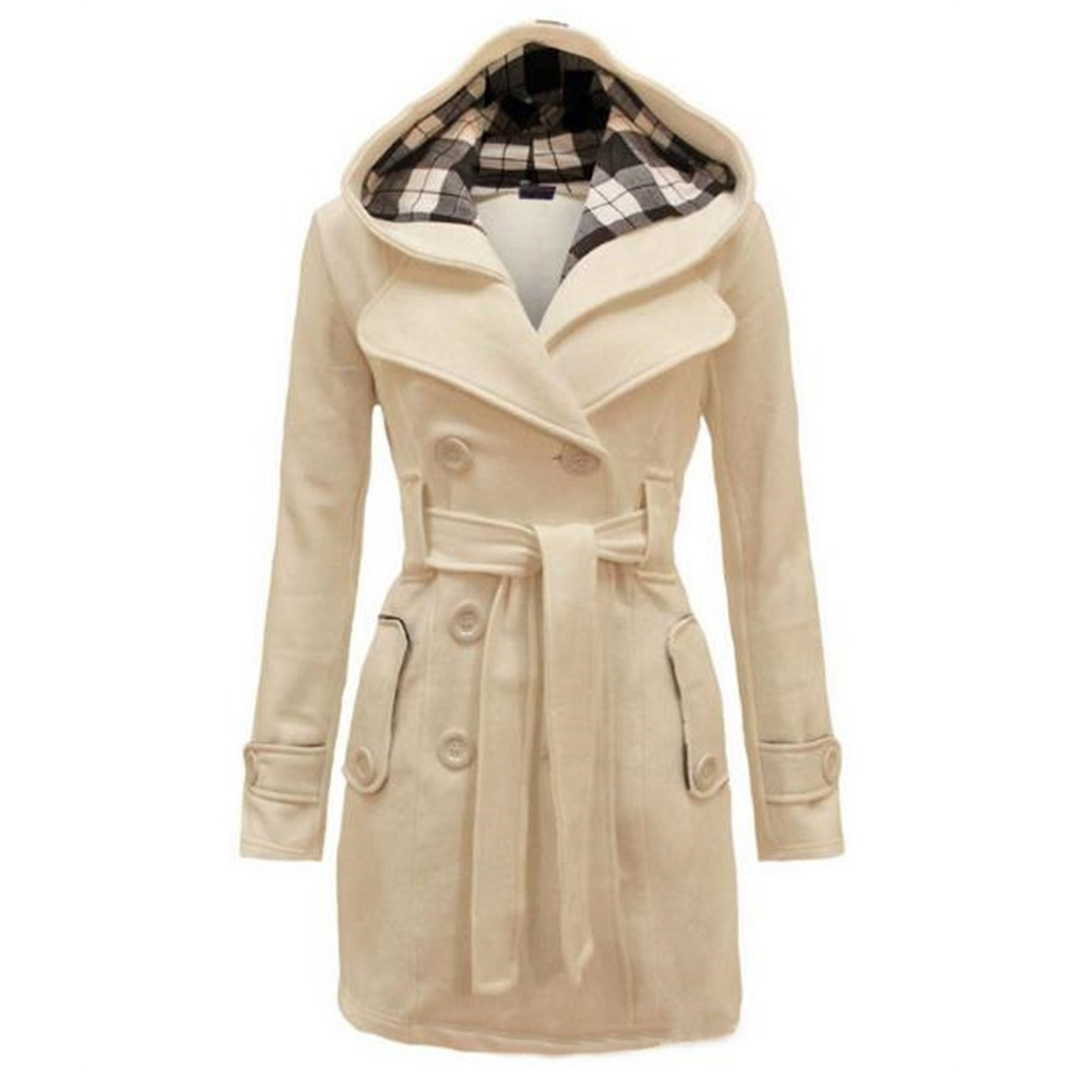 New Ladies Hooded Coat Slim Double Breasted Belt Hooded Jacket Autumn Winter Wool Blend Casual Solid