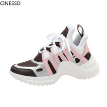 Women Platforms Sneakers Lace Up Running Casual Shoes Mixed Color Brand Designer Flats Walking Trainers Woman Vulcanize Shoes woman sneakers metallic color woman shoes front lace up woman casual shoes low top rivets embellished platform woman flats brand
