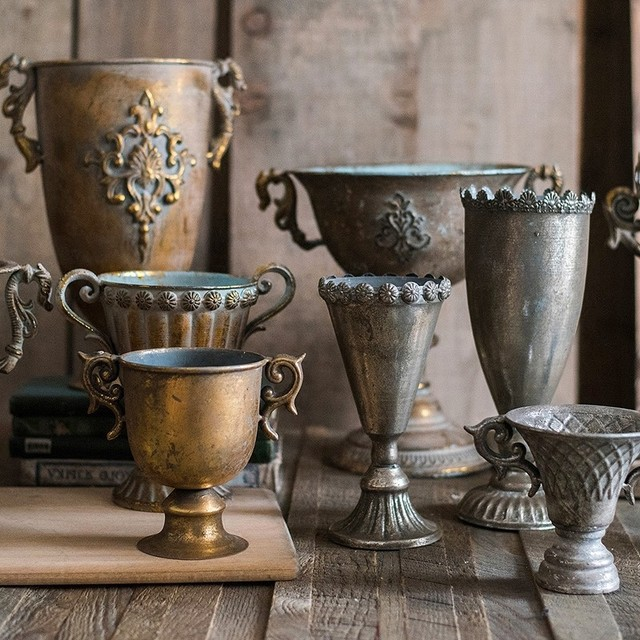 Vintage Old Wrought Iron Vase Flower Home Furnishing Golden Silver European Flower Pot  Goblet Classical Floral Decoration 5
