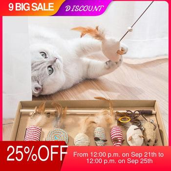 7 Style/1 Set Cat Toy Hemp Rope Interactive Stick Funny Cats Toys Kitten Mouse Fishing Game Wand Feather Pet Supplies Accessory shark bite game funny toys desktop fishing toys kids family interactive toys board game
