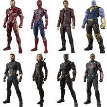 Vengadores Infinity War Iron Spider Dr Strange Star Señor Capitán americano Thanos SHF juguete MODELO DE figura de acción