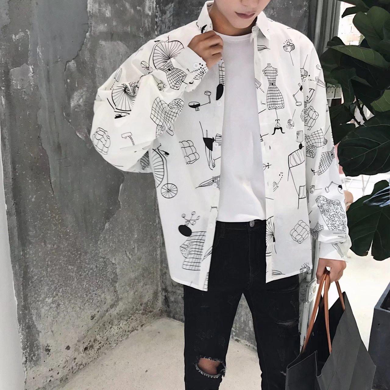 Men Shirt Korean-style New Style Popular Brand Casual Versatile Cool Printed Long-sleeve Blouse Couples Coat