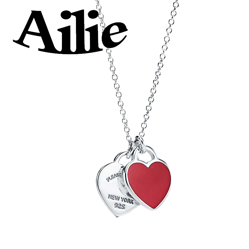 Ailie original high quality 925 sterling silver tiff heart necklace classic enamel drop glue fashion ladies jewelry couple gifts in Chain Necklaces from Jewelry Accessories