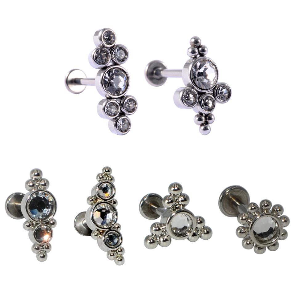 1 шт., можно носить в ушах, пупка, Daith Пирсинг Серьга кластера внутренняя нить кольцо для пирсинга губ кольцо лепестка серьги-гвоздики Титан С...