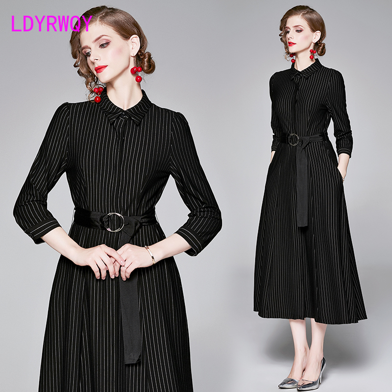 2019 autumn and winter models European and American style fashion striped slim dress