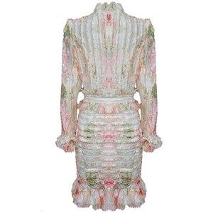 Image 5 - TWOTWINSTYLE 패치 워크 프릴 인쇄 Ruched 여자의 드레스 스탠드 칼라 퍼프 슬리브 높은 허리 드레스 여성 패션 의류