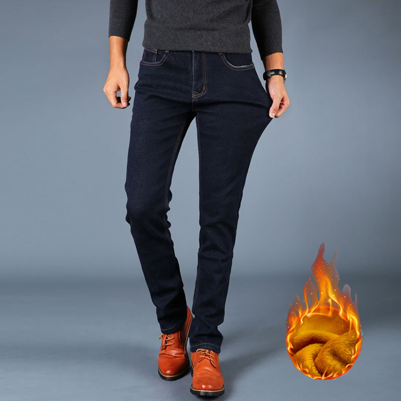Fashion Winter Men Jeans Black Blue Color Elastic Keep Warm Jeans Men Casual Business Slim Fit Thick Velvet Pants Stretch